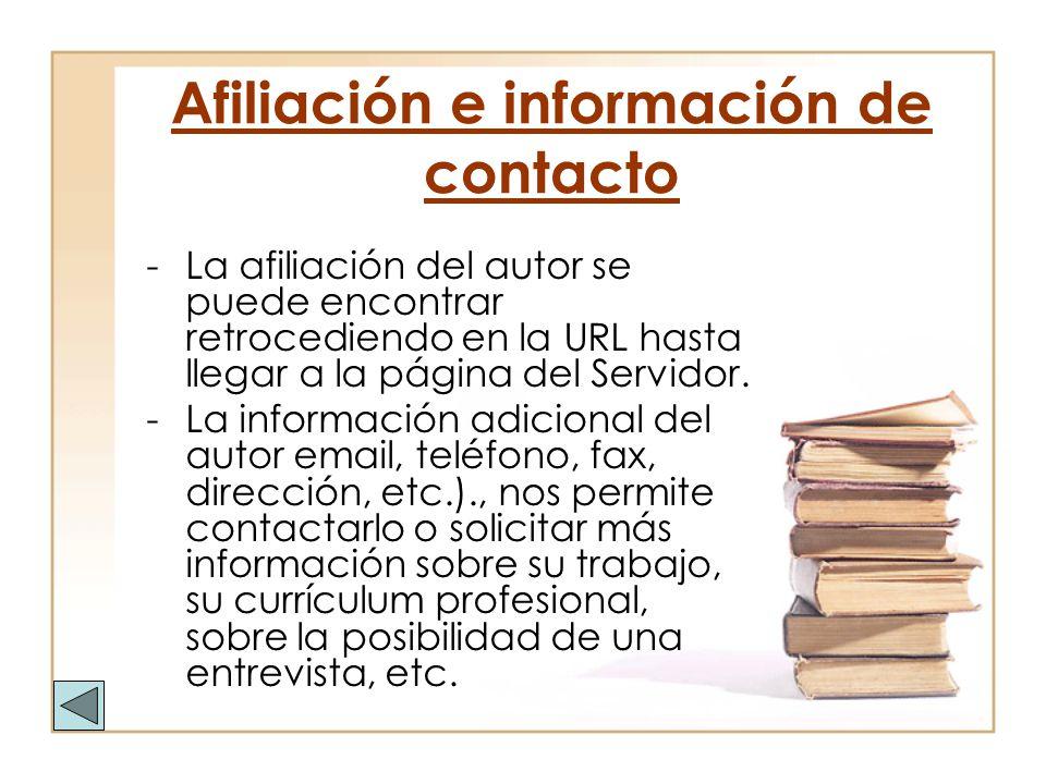 Afiliación e información de contacto