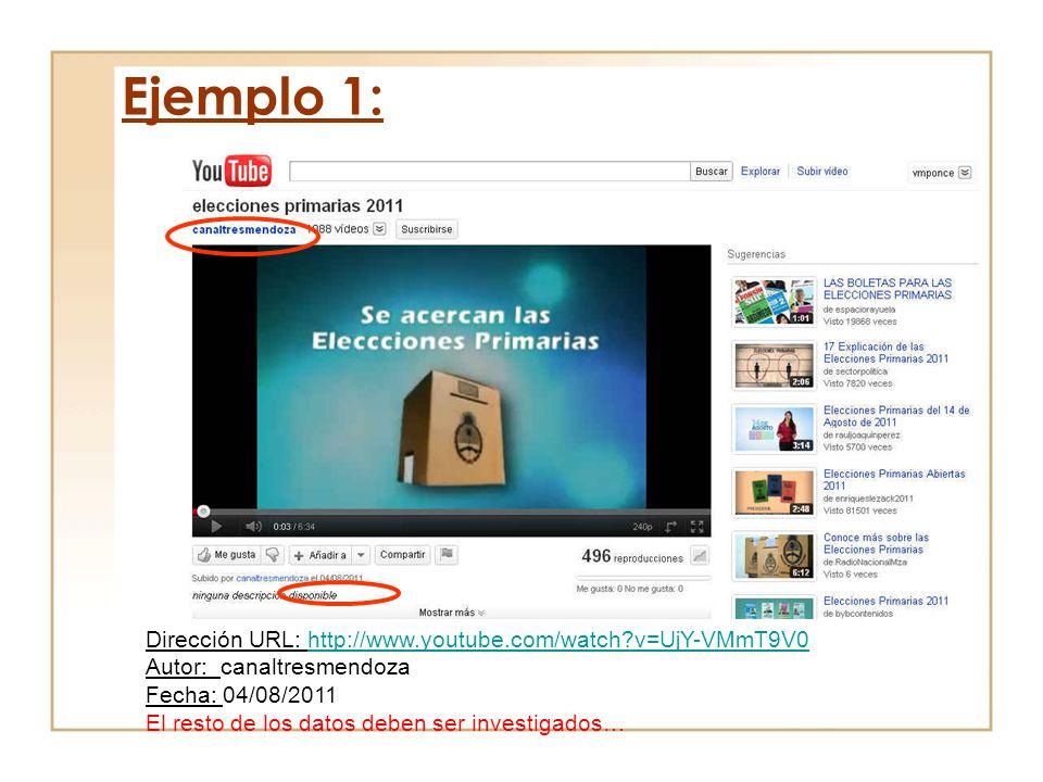 Ejemplo 1: Dirección URL: http://www.youtube.com/watch v=UjY-VMmT9V0