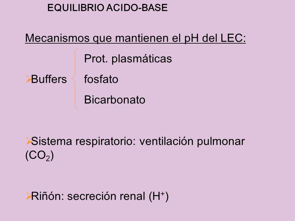 Mecanismos que mantienen el pH del LEC: Prot. plasmáticas