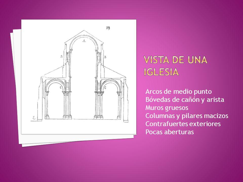 Vista de una iglesia Arcos de medio punto Bóvedas de cañón y arista