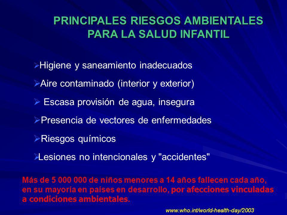 PRINCIPALES RIESGOS AMBIENTALES PARA LA SALUD INFANTIL