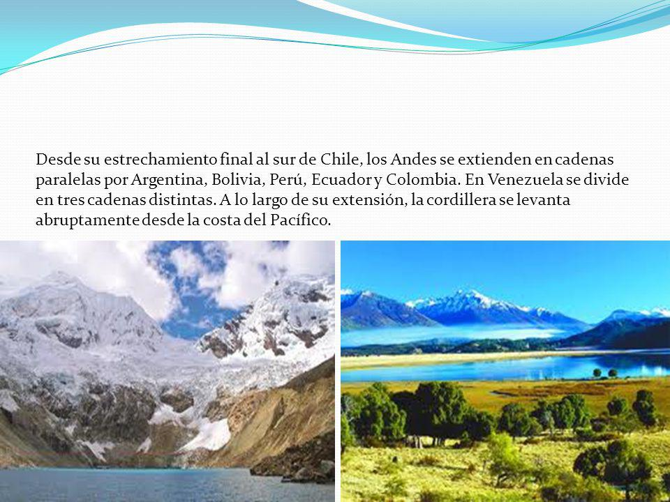 Desde su estrechamiento final al sur de Chile, los Andes se extienden en cadenas paralelas por Argentina, Bolivia, Perú, Ecuador y Colombia.