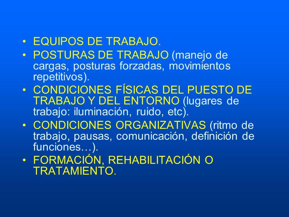 EQUIPOS DE TRABAJO. POSTURAS DE TRABAJO (manejo de cargas, posturas forzadas, movimientos repetitivos).