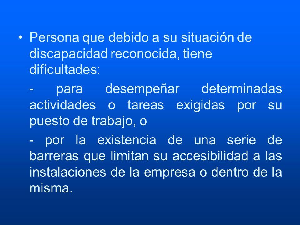 Persona que debido a su situación de discapacidad reconocida, tiene dificultades: