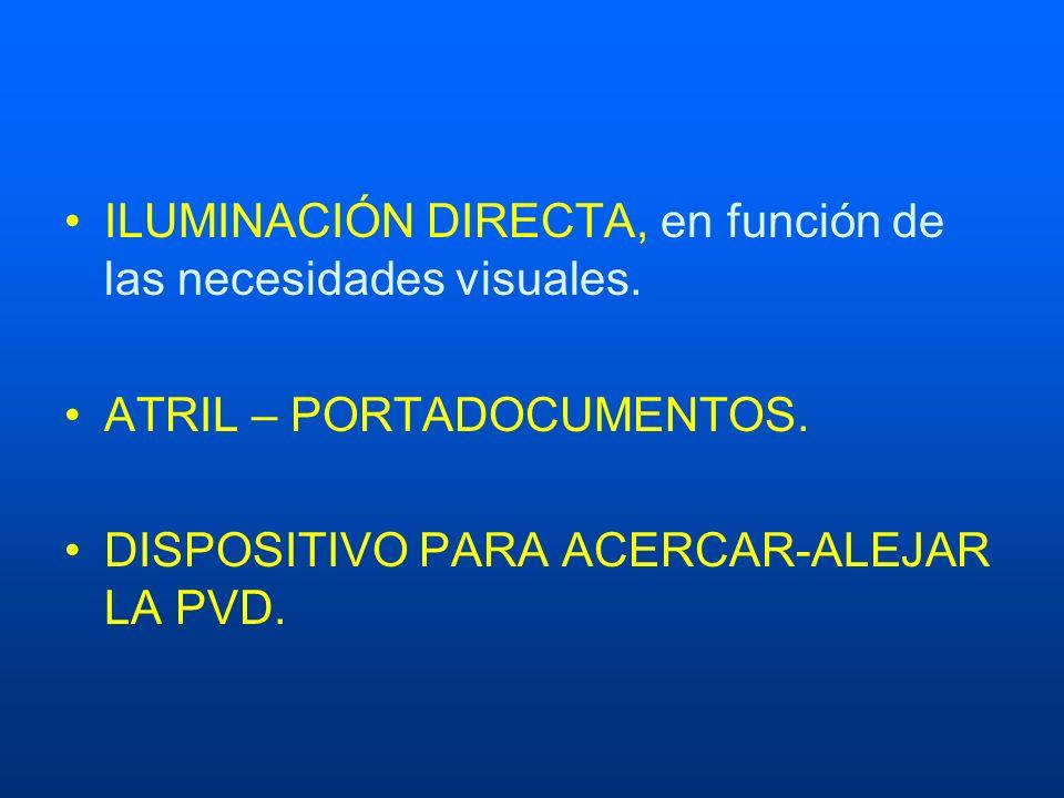 ILUMINACIÓN DIRECTA, en función de las necesidades visuales.