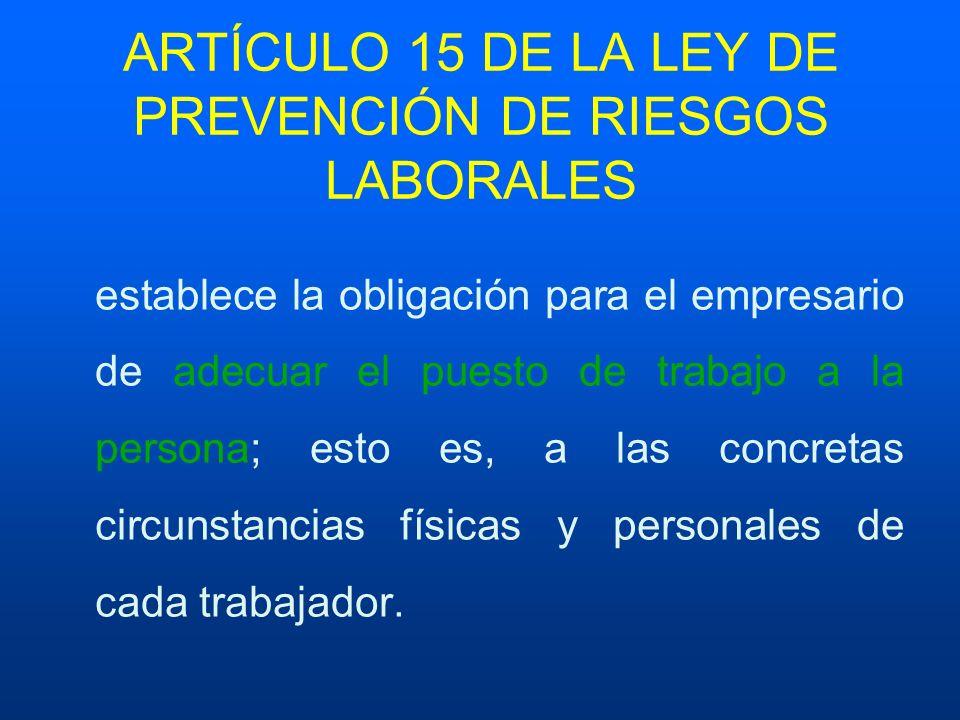 ARTÍCULO 15 DE LA LEY DE PREVENCIÓN DE RIESGOS LABORALES
