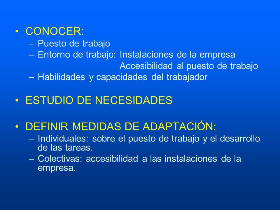 ESTUDIO DE NECESIDADES DEFINIR MEDIDAS DE ADAPTACIÓN: