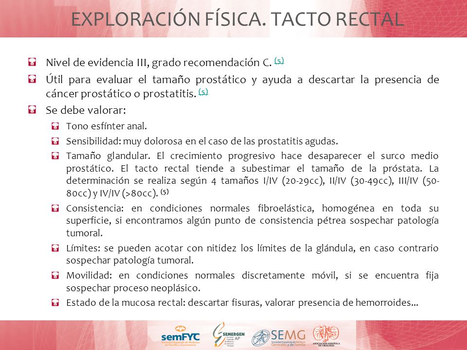EXPLORACIÓN FÍSICA. TACTO RECTAL
