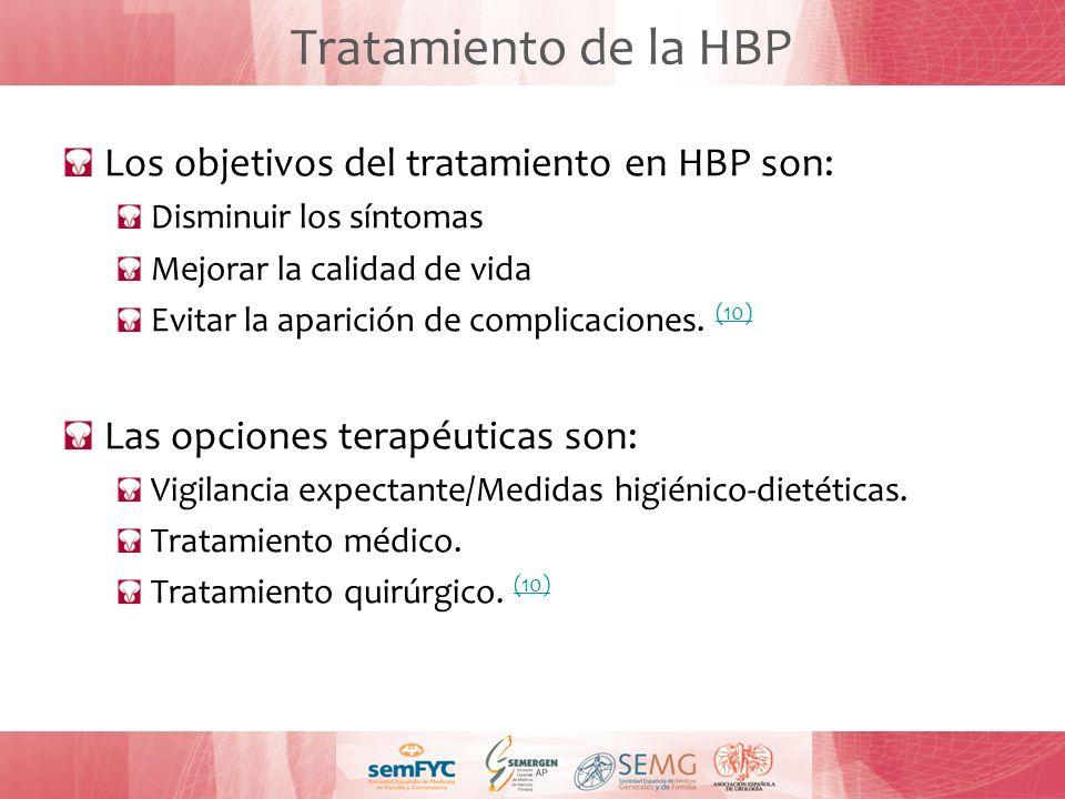 Tratamiento de la HBP Los objetivos del tratamiento en HBP son: