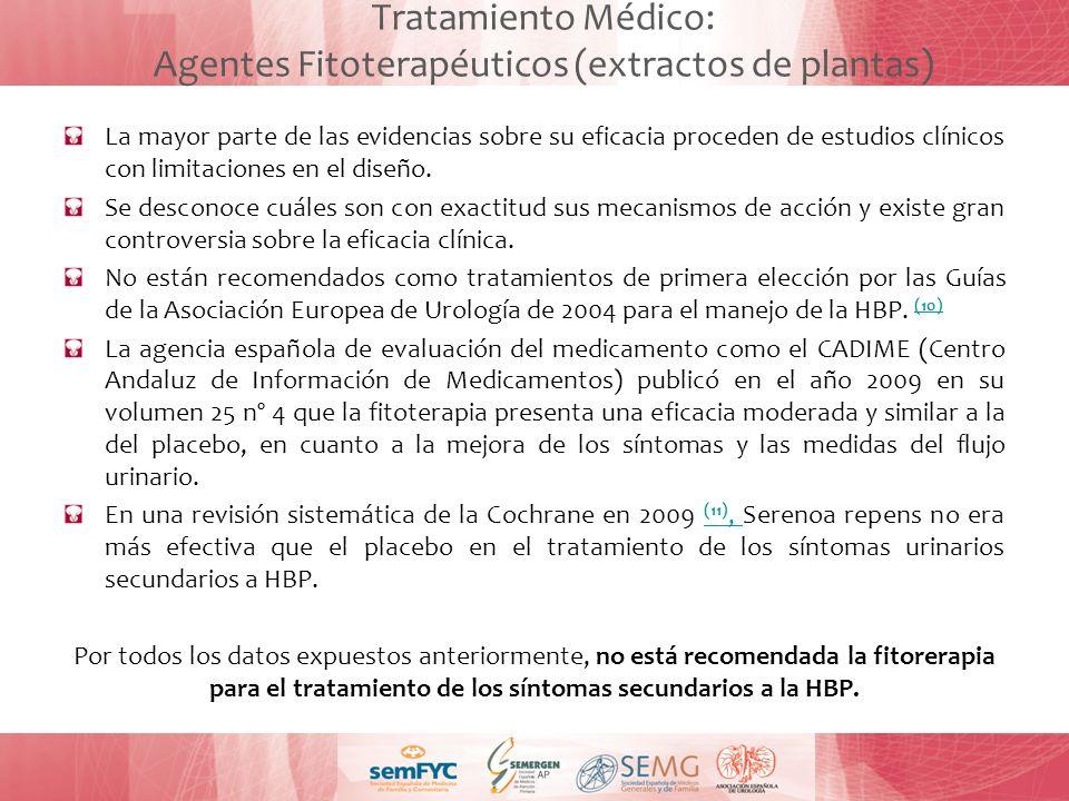 Tratamiento Médico: Agentes Fitoterapéuticos (extractos de plantas)