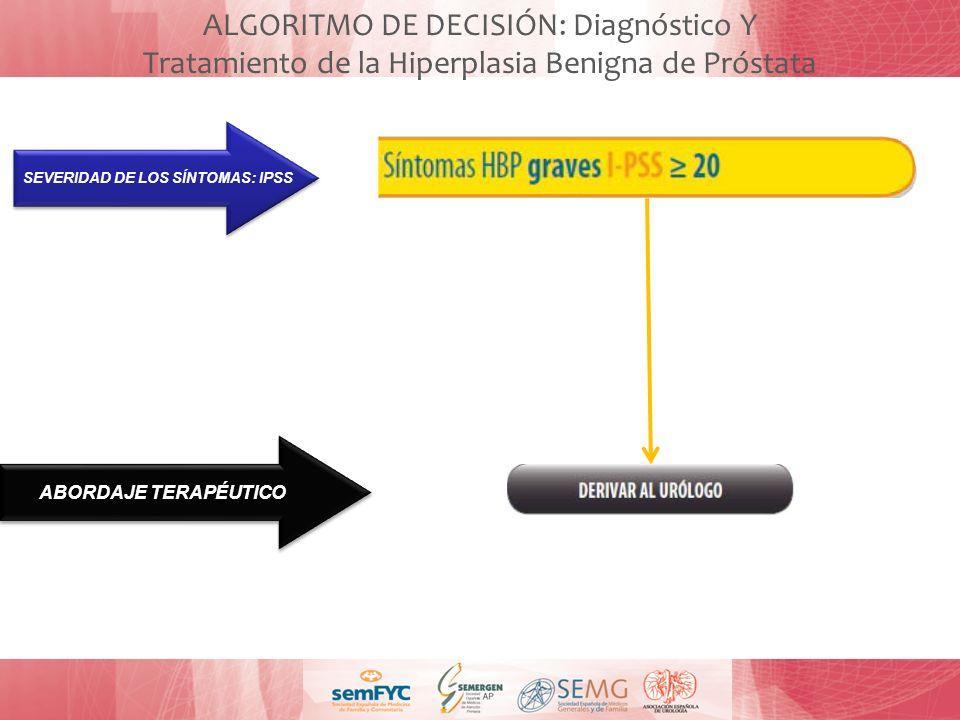 ALGORITMO DE DECISIÓN: Diagnóstico Y Tratamiento de la Hiperplasia Benigna de Próstata