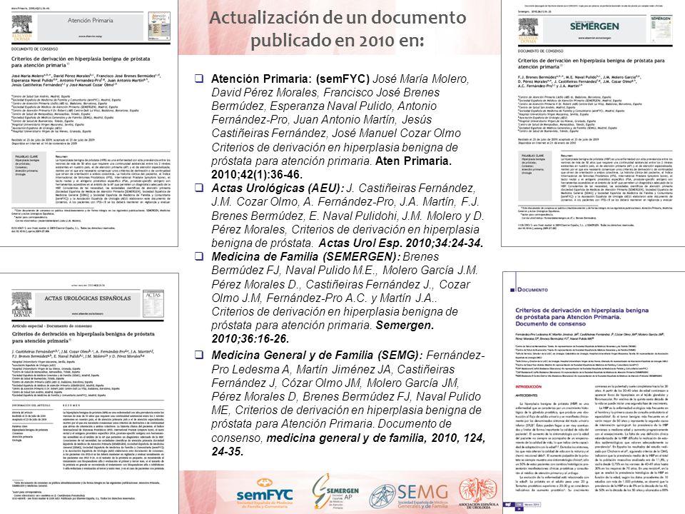 Actualización de un documento publicado en 2010 en:
