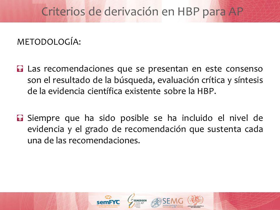 Criterios de derivación en HBP para AP