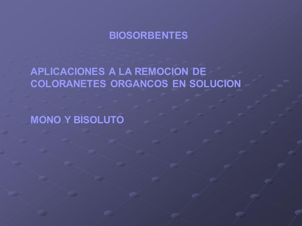 BIOSORBENTES APLICACIONES A LA REMOCION DE COLORANETES ORGANCOS EN SOLUCION MONO Y BISOLUTO