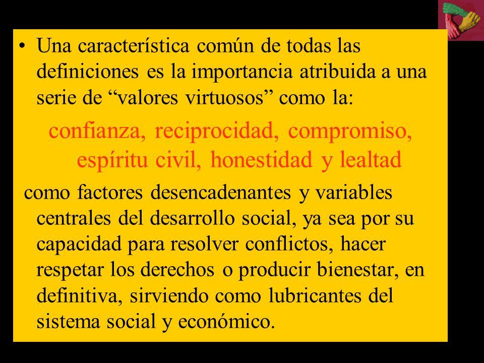 Una característica común de todas las definiciones es la importancia atribuida a una serie de valores virtuosos como la: