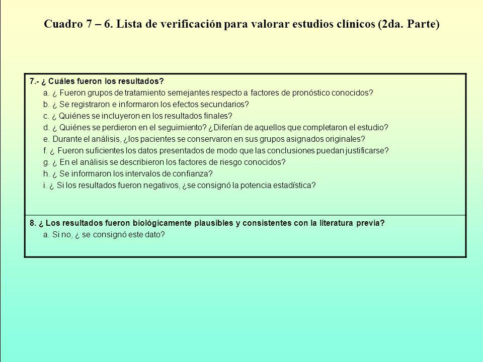 Cuadro 7 – 6. Lista de verificación para valorar estudios clínicos (2da. Parte)