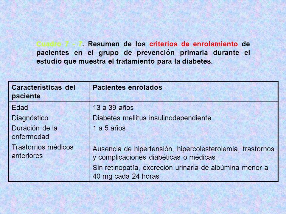 Cuadro 7 - 7. Resumen de los criterios de enrolamiento de pacientes en el grupo de prevención primaria durante el estudio que muestra el tratamiento para la diabetes.