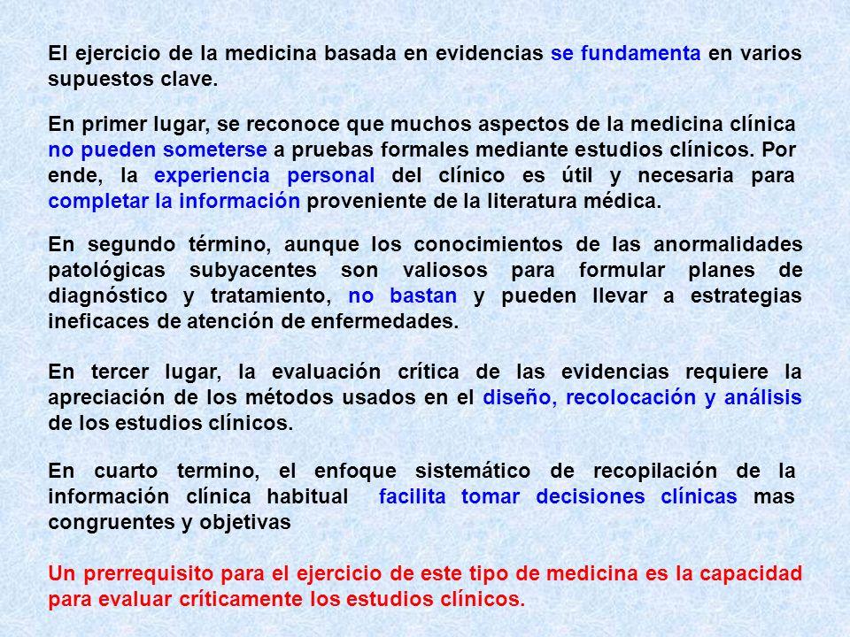 El ejercicio de la medicina basada en evidencias se fundamenta en varios supuestos clave.