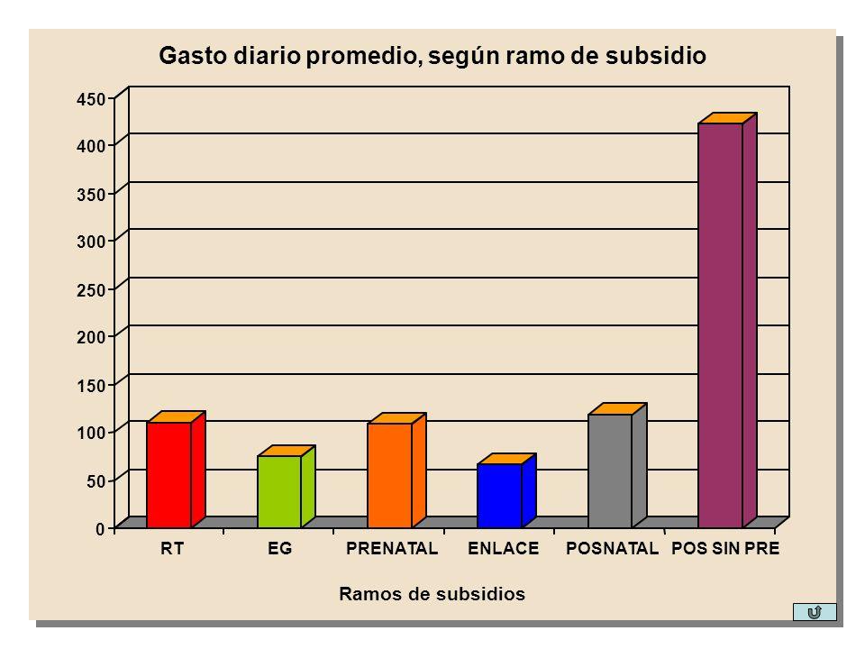Gasto diario promedio, según ramo de subsidio