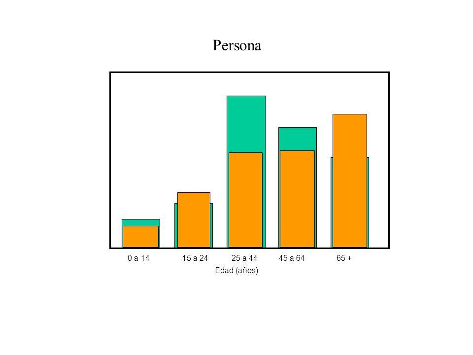 Persona 0 a 14 15 a 24 25 a 44 45 a 64 65 + Edad (años)