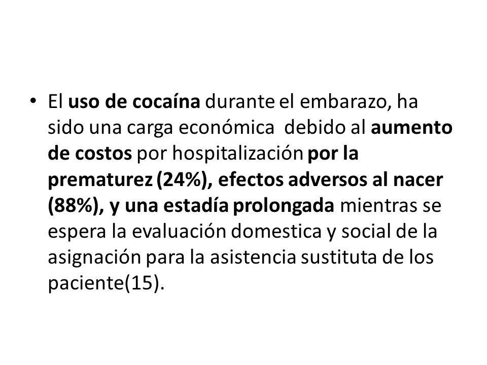 El uso de cocaína durante el embarazo, ha sido una carga económica debido al aumento de costos por hospitalización por la prematurez (24%), efectos adversos al nacer (88%), y una estadía prolongada mientras se espera la evaluación domestica y social de la asignación para la asistencia sustituta de los paciente(15).