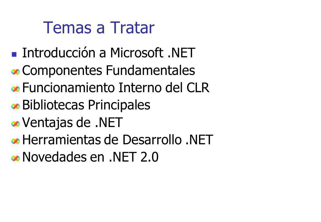 Temas a Tratar Introducción a Microsoft .NET Componentes Fundamentales