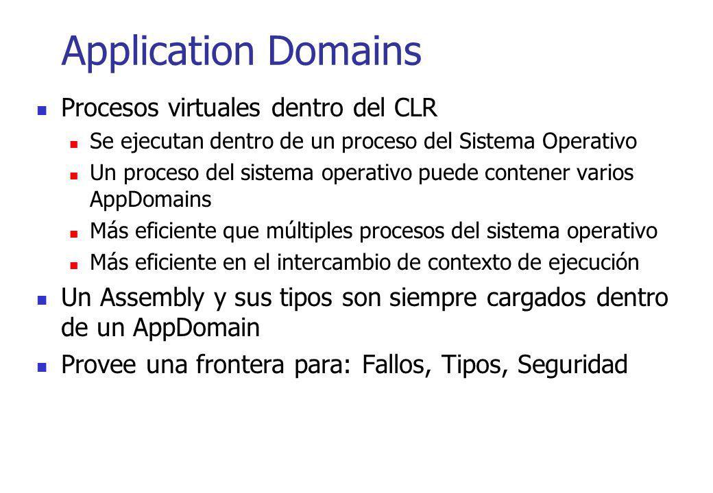 Application Domains Procesos virtuales dentro del CLR