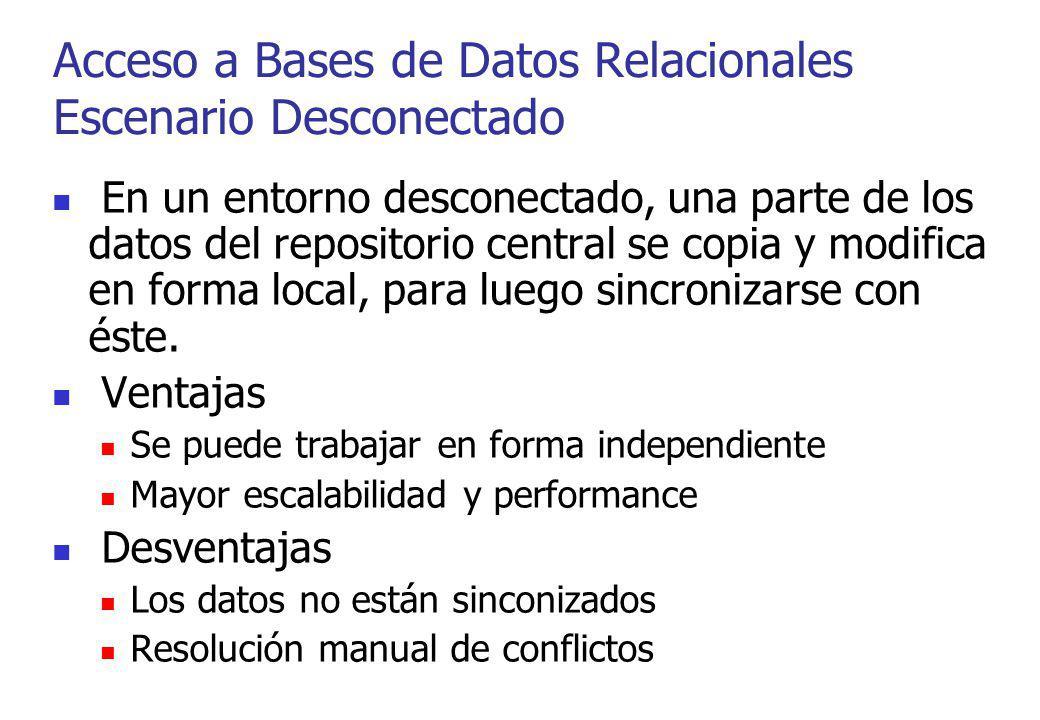 Acceso a Bases de Datos Relacionales Escenario Desconectado