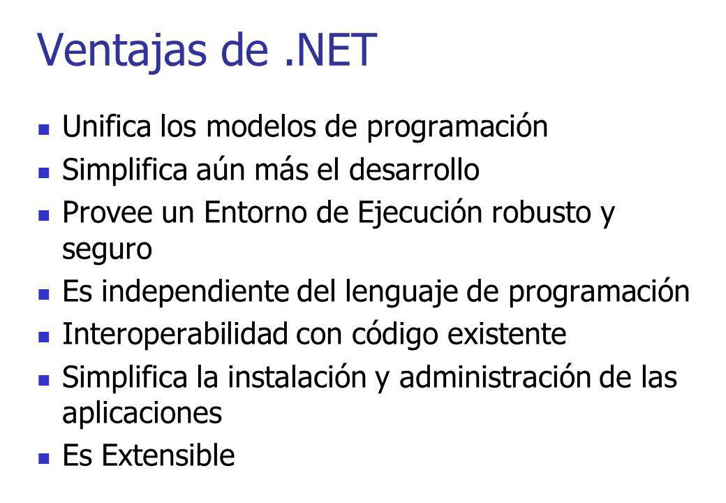 Ventajas de .NET Unifica los modelos de programación