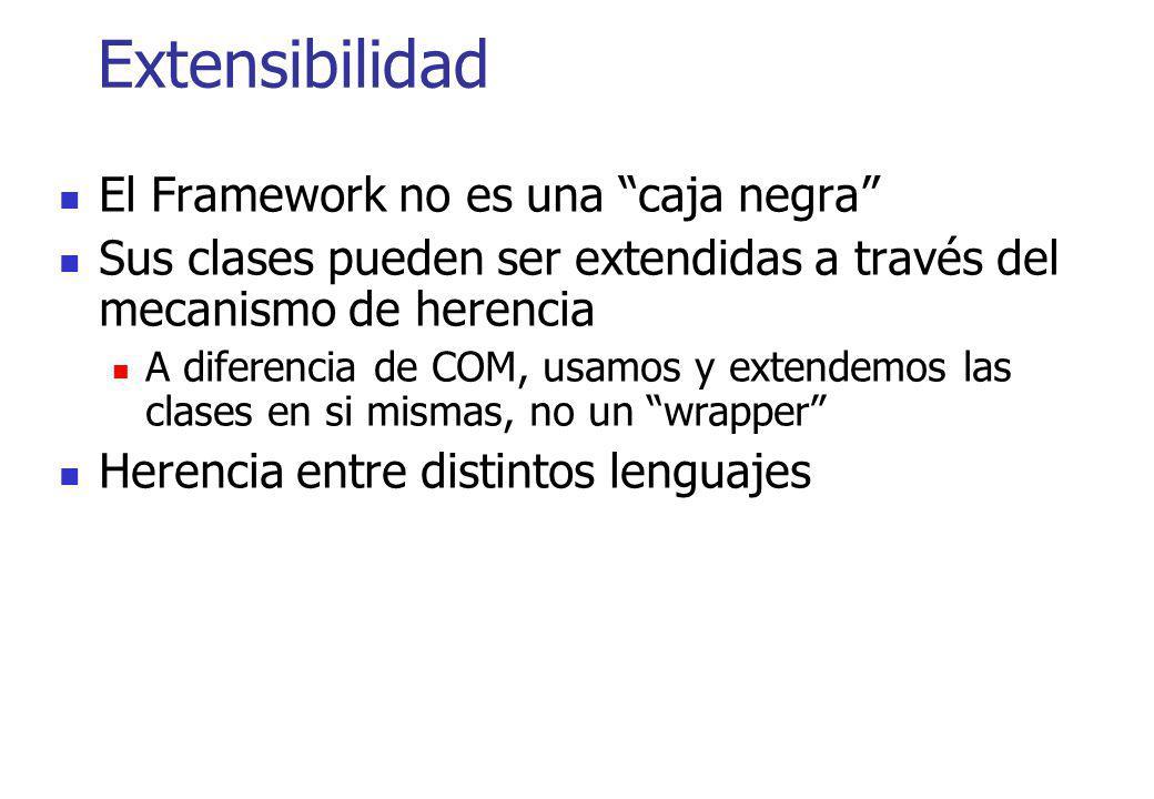 Extensibilidad El Framework no es una caja negra