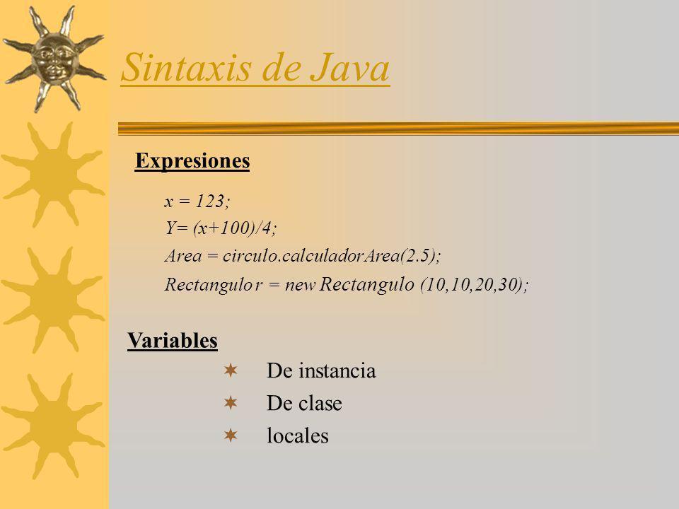 Sintaxis de Java Expresiones Variables De instancia De clase locales