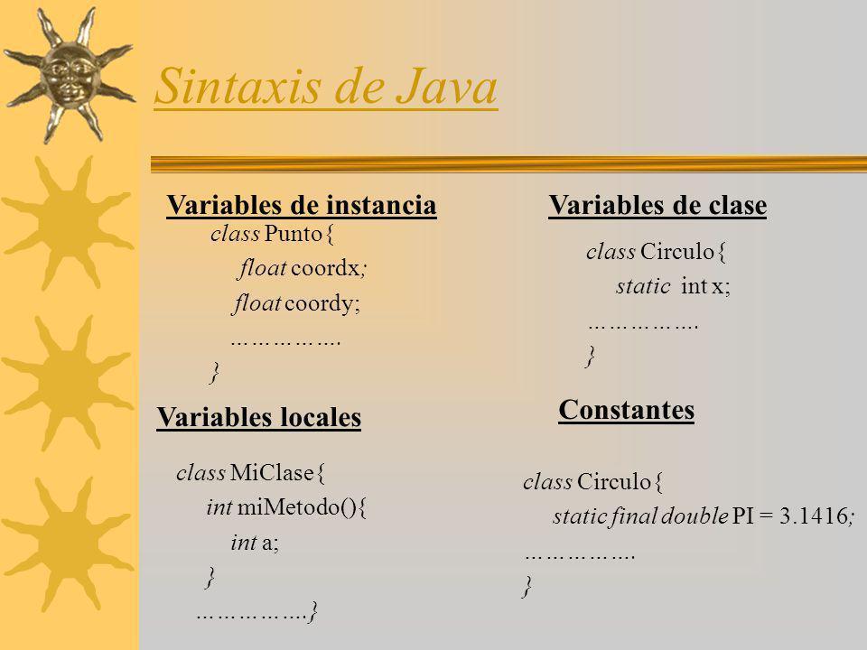 Sintaxis de Java Variables de instancia Variables de clase Constantes