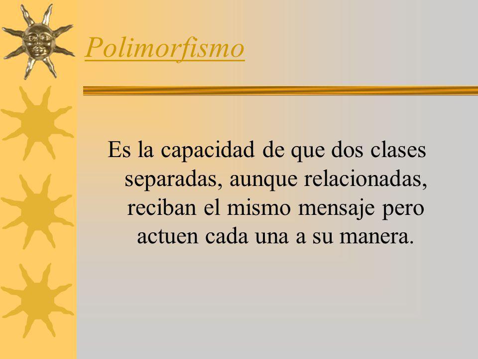 Polimorfismo Es la capacidad de que dos clases separadas, aunque relacionadas, reciban el mismo mensaje pero actuen cada una a su manera.