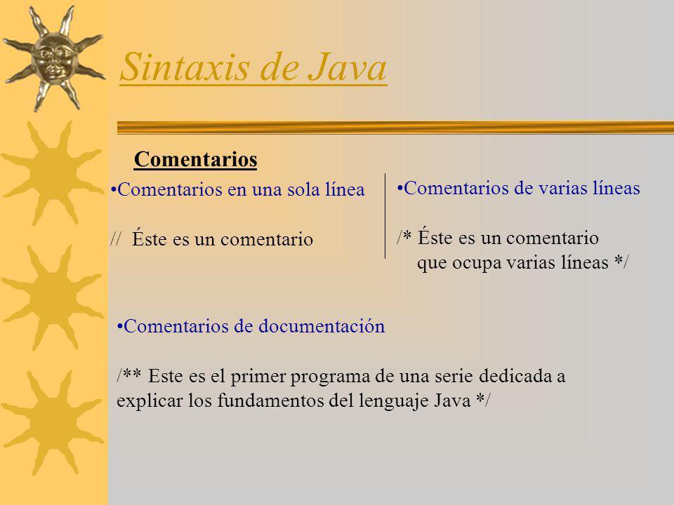 Sintaxis de Java Comentarios Comentarios en una sola línea
