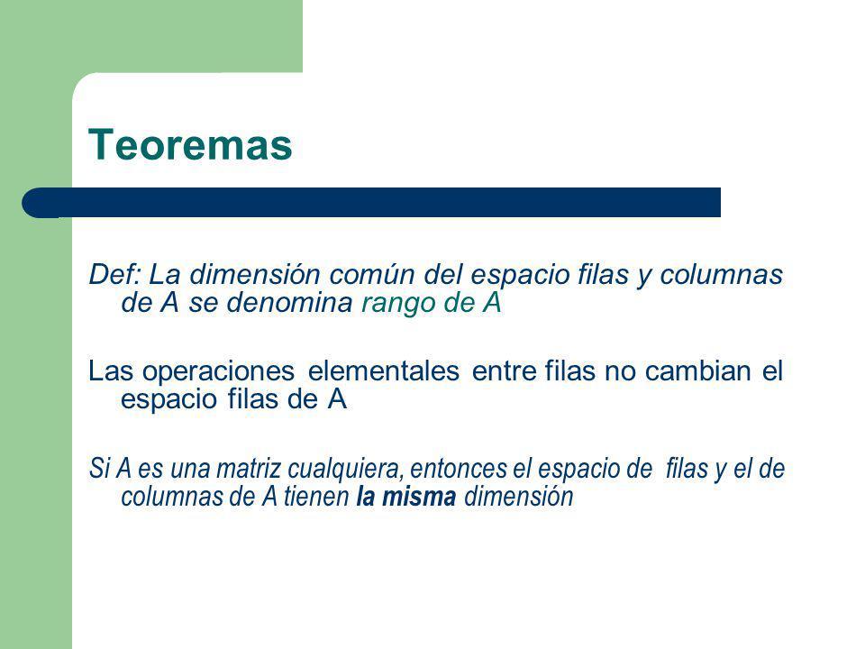 Teoremas Def: La dimensión común del espacio filas y columnas de A se denomina rango de A.