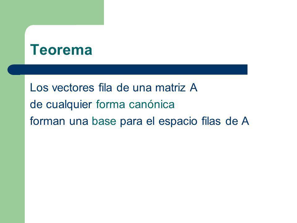 Teorema Los vectores fila de una matriz A de cualquier forma canónica