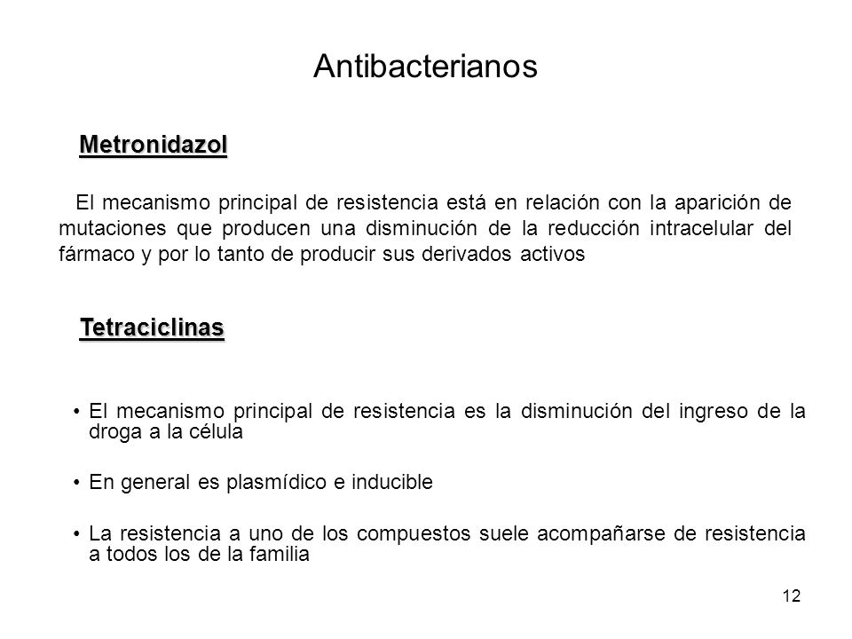 Antibacterianos Metronidazol Tetraciclinas