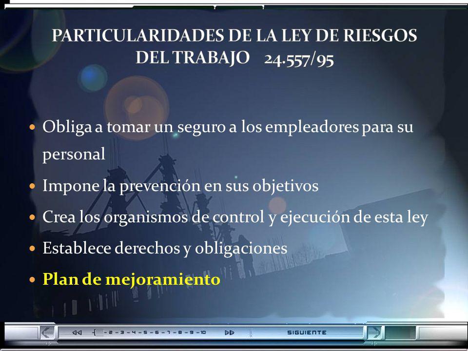 PARTICULARIDADES DE LA LEY DE RIESGOS DEL TRABAJO 24.557/95