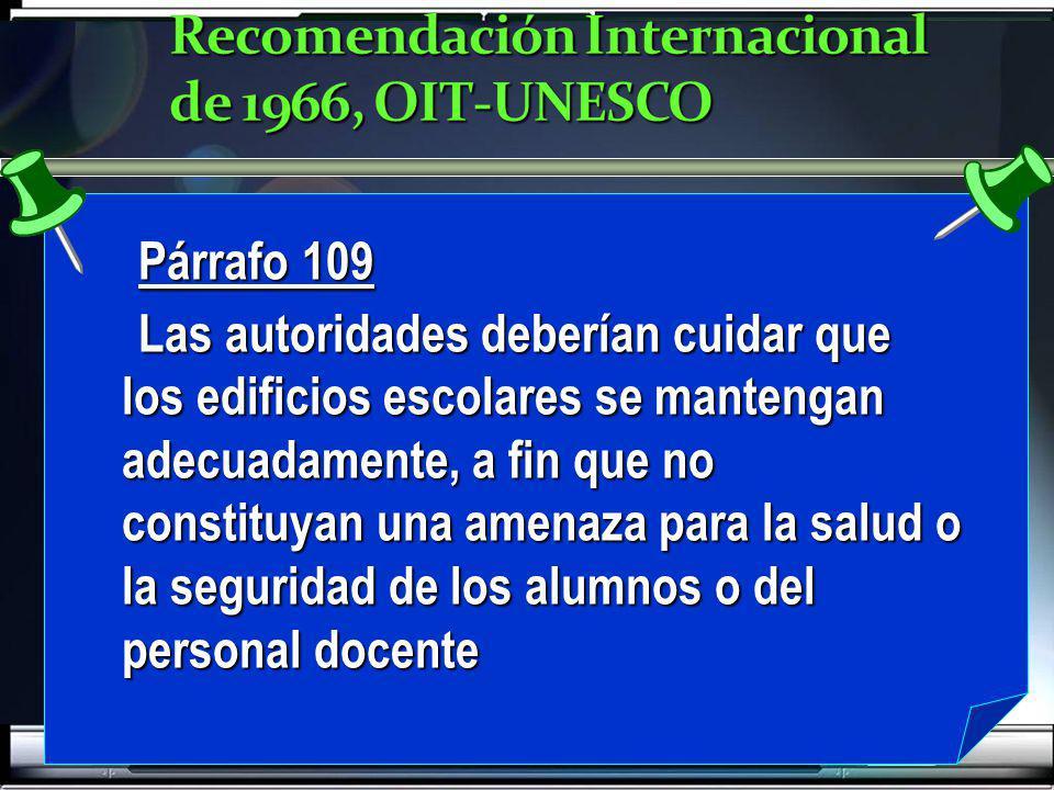 Recomendación Internacional de 1966, OIT-UNESCO