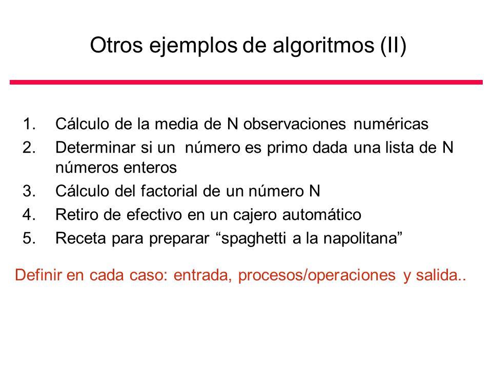 Otros ejemplos de algoritmos (II)