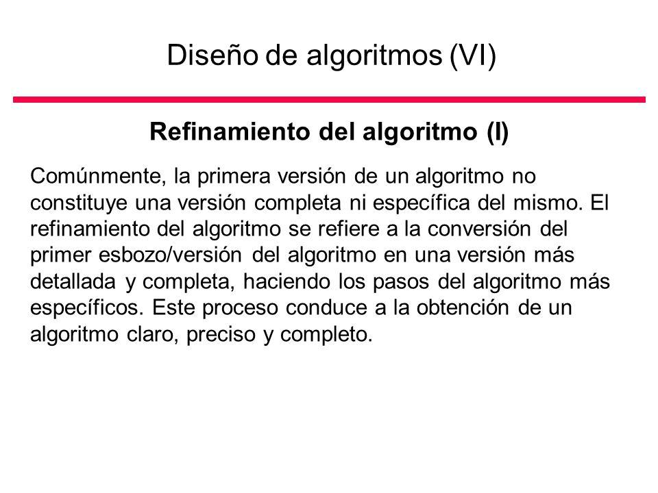 Diseño de algoritmos (VI)