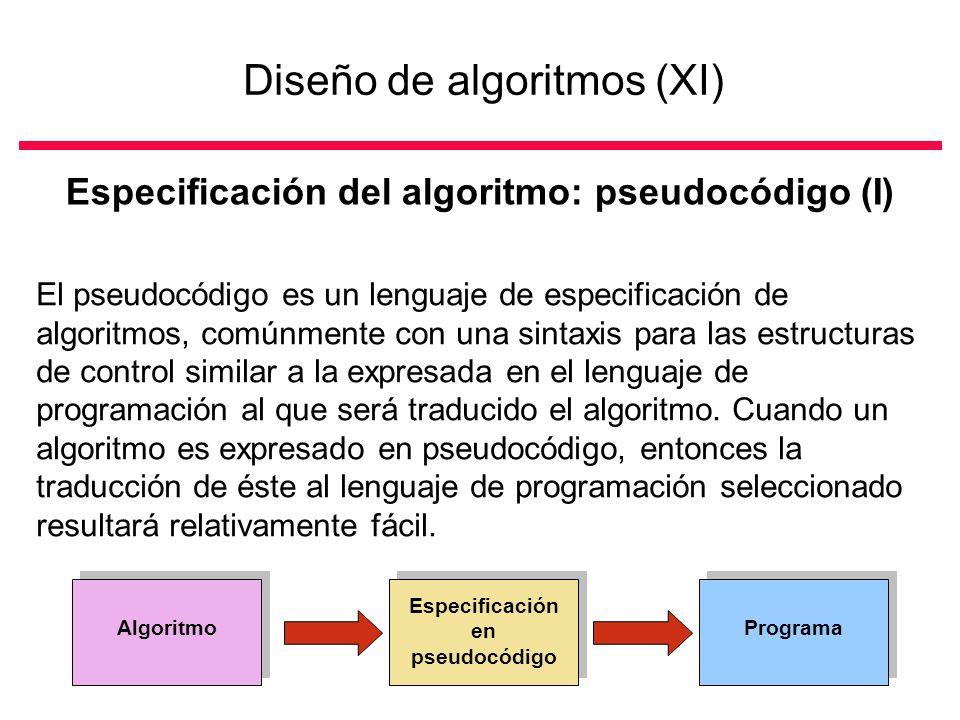 Diseño de algoritmos (XI)