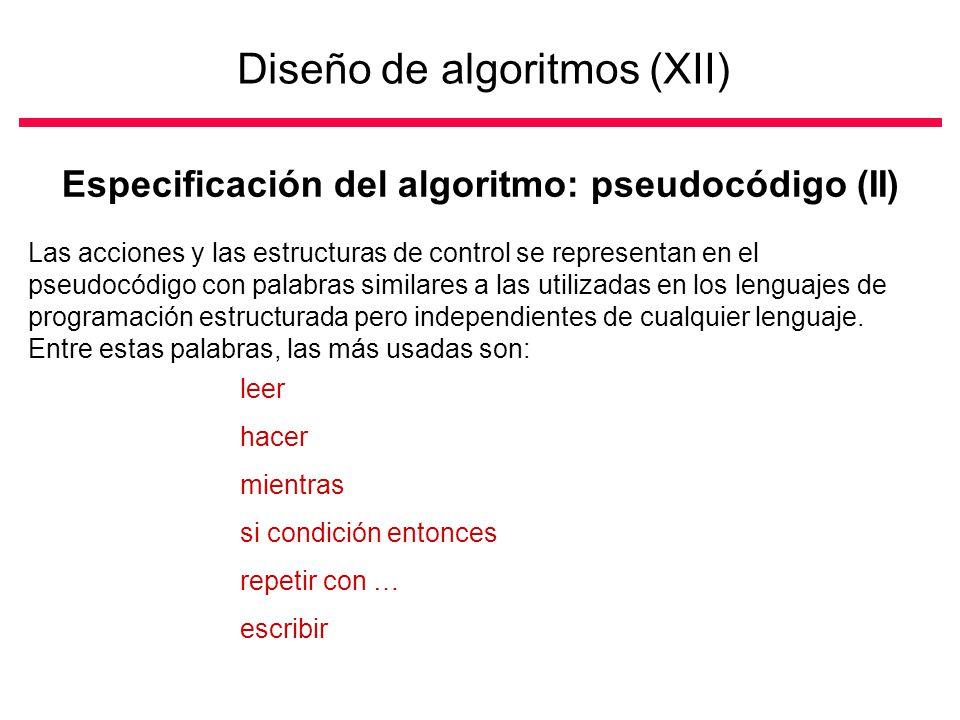 Diseño de algoritmos (XII)