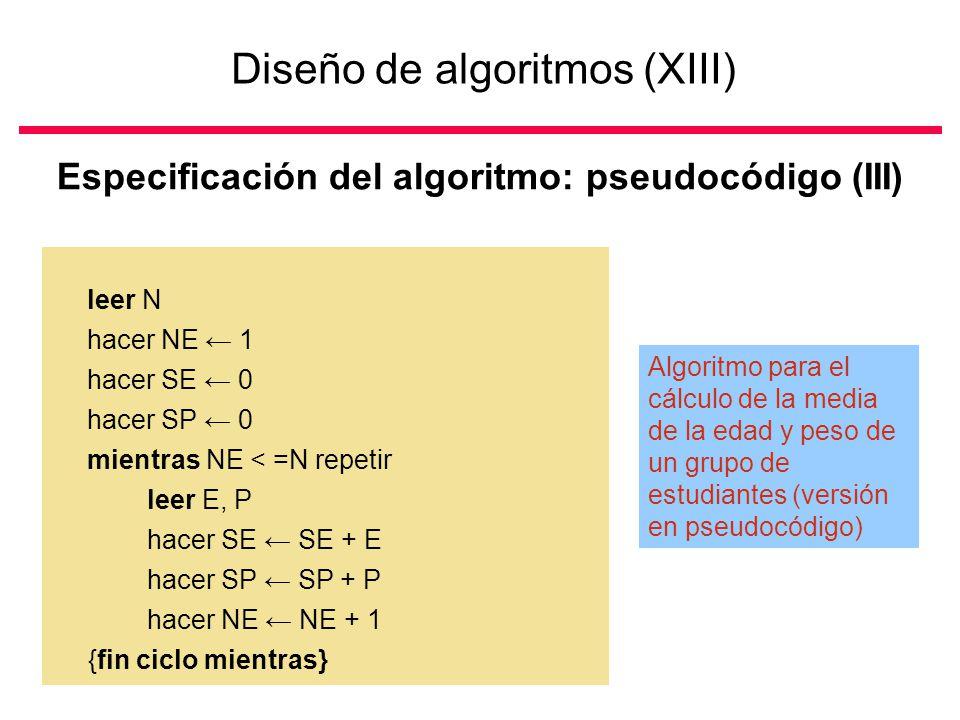 Diseño de algoritmos (XIII)