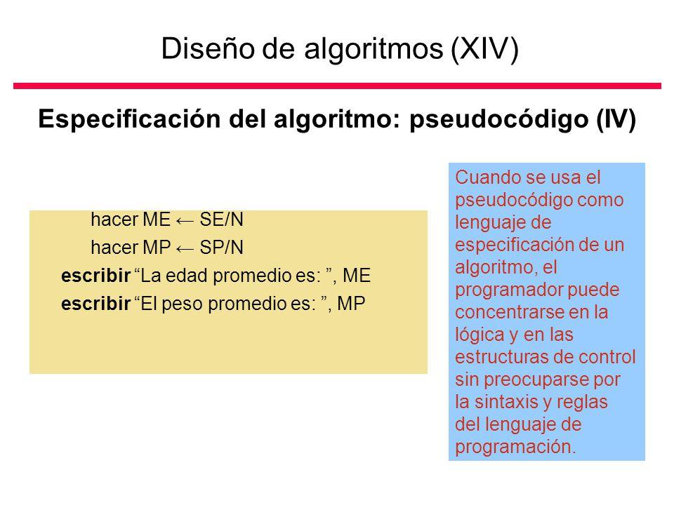 Diseño de algoritmos (XIV)