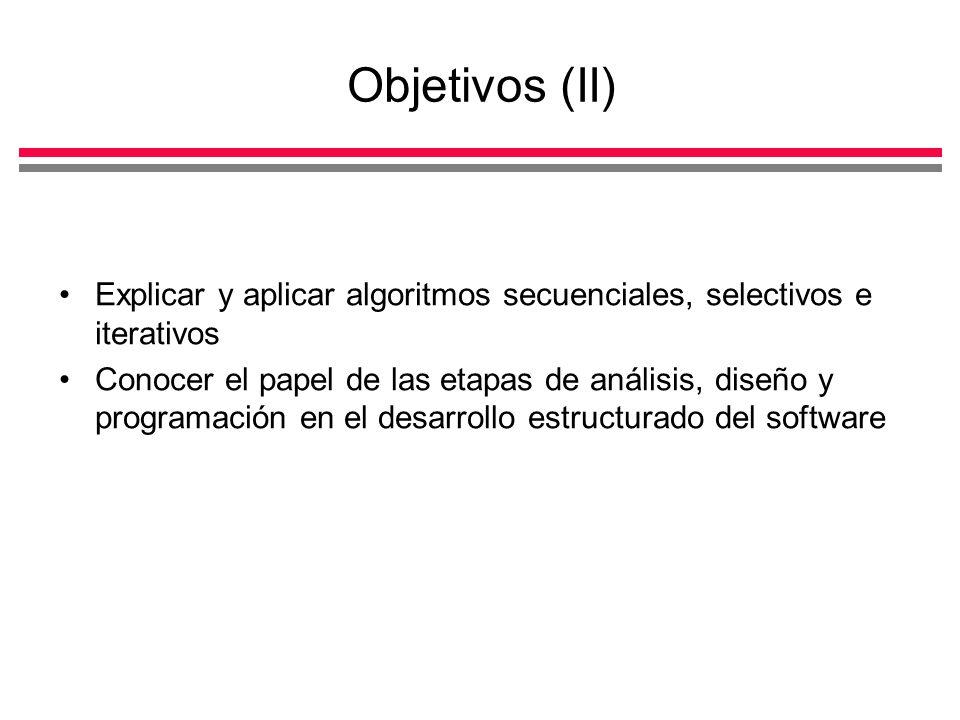 Objetivos (II) Explicar y aplicar algoritmos secuenciales, selectivos e iterativos.