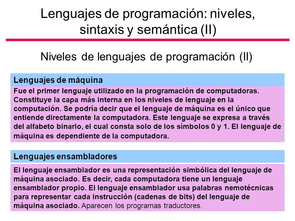 Lenguajes de programación: niveles, sintaxis y semántica (II)