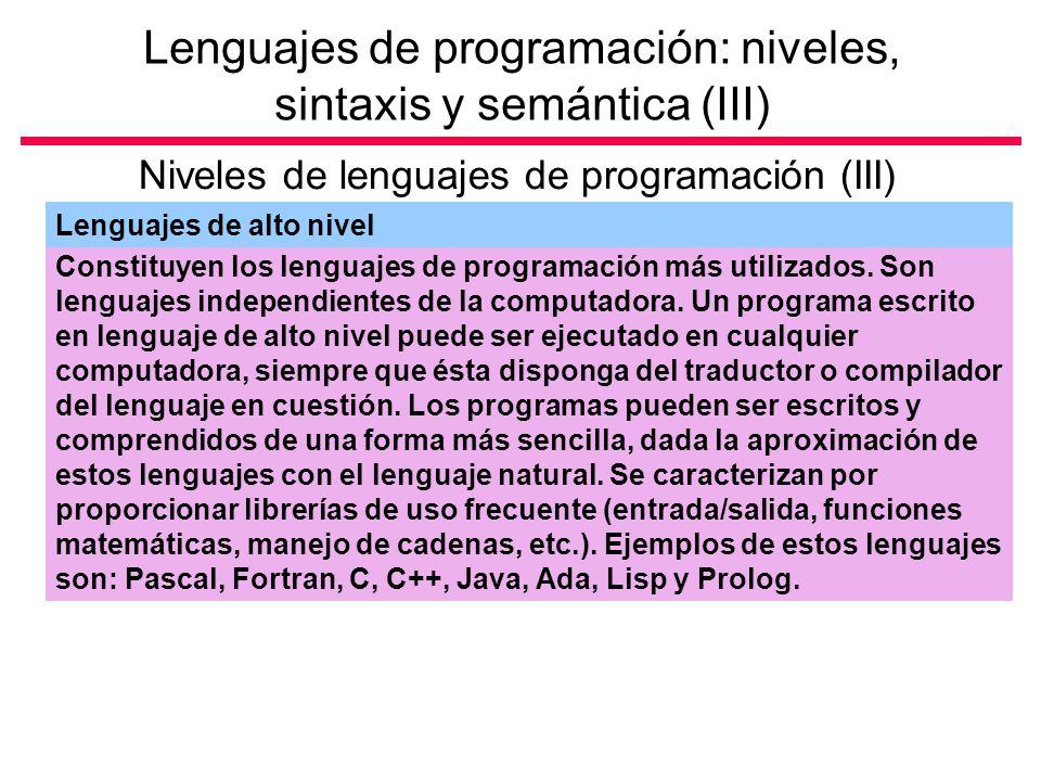 Lenguajes de programación: niveles, sintaxis y semántica (III)
