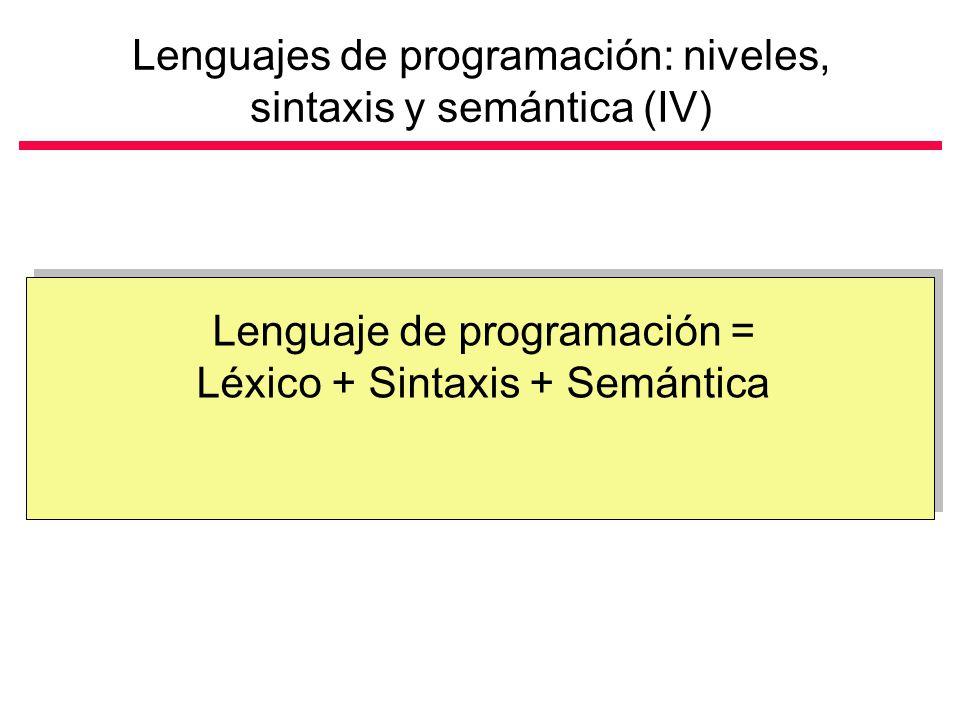 Lenguajes de programación: niveles, sintaxis y semántica (IV)