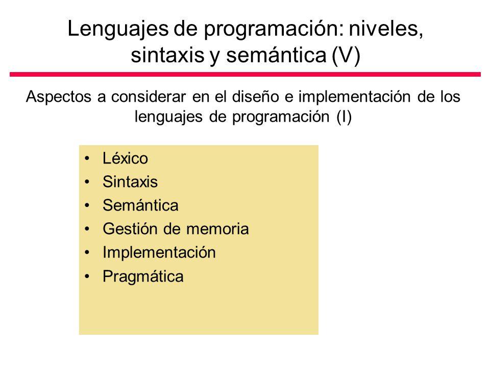 Lenguajes de programación: niveles, sintaxis y semántica (V)